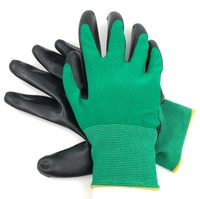 Перчатки нейлоновые с нитриловым покрытием Зеленый Черный